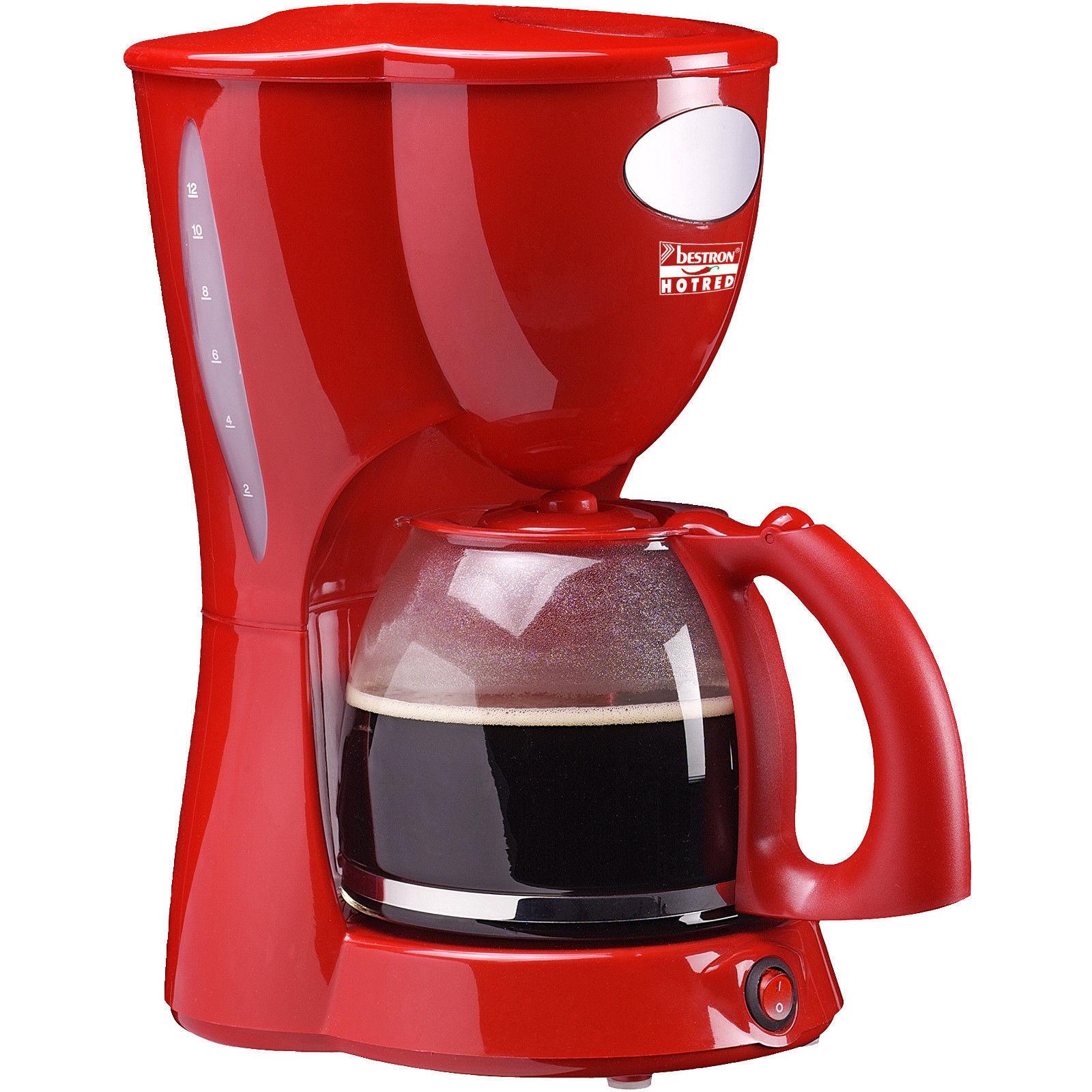 Kaffeemaschine Kaffeeautomat Glaskanne 1,5 Liter Permanent Filter Rot BESTRON ACM801