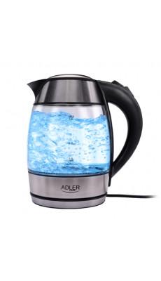 Edelstahl  Wasserkocher 1,8 L Glas - Wasserkocher 2000 W Adler AD 1246