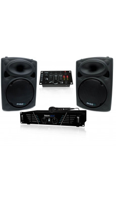 DJ PARTY SET  PA STUDIO SOUND 2x SUBWOOFER LAUTSPRECHER VERSTÄRKER MIXER MIKROFON