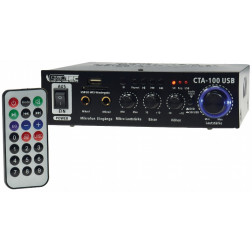 Hifi-Verstärker 100W schwarz 2x Mikro-Eingang USB-Anschluß Fernb. CTA-100