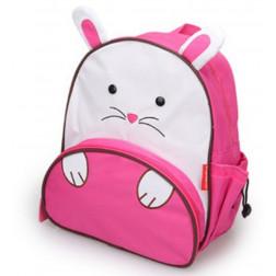 Kindergartenrucksack Kinder Rucksack Tiermuster Tiere Tasche Hase weiß pink