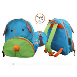 Kindergartenrucksack Kinder Rucksack Tiermuster Tiere Tasche Hund blau-grün